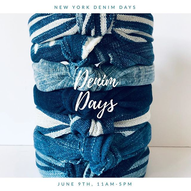 "One day only, one of a kind 💙. Join us this Sunday at lucky booth #8. Featuring our ""New Tide"" collection. #vintage #upcycle #waves #headband #scrunchies #boatneck #stripes #indigo #slub"