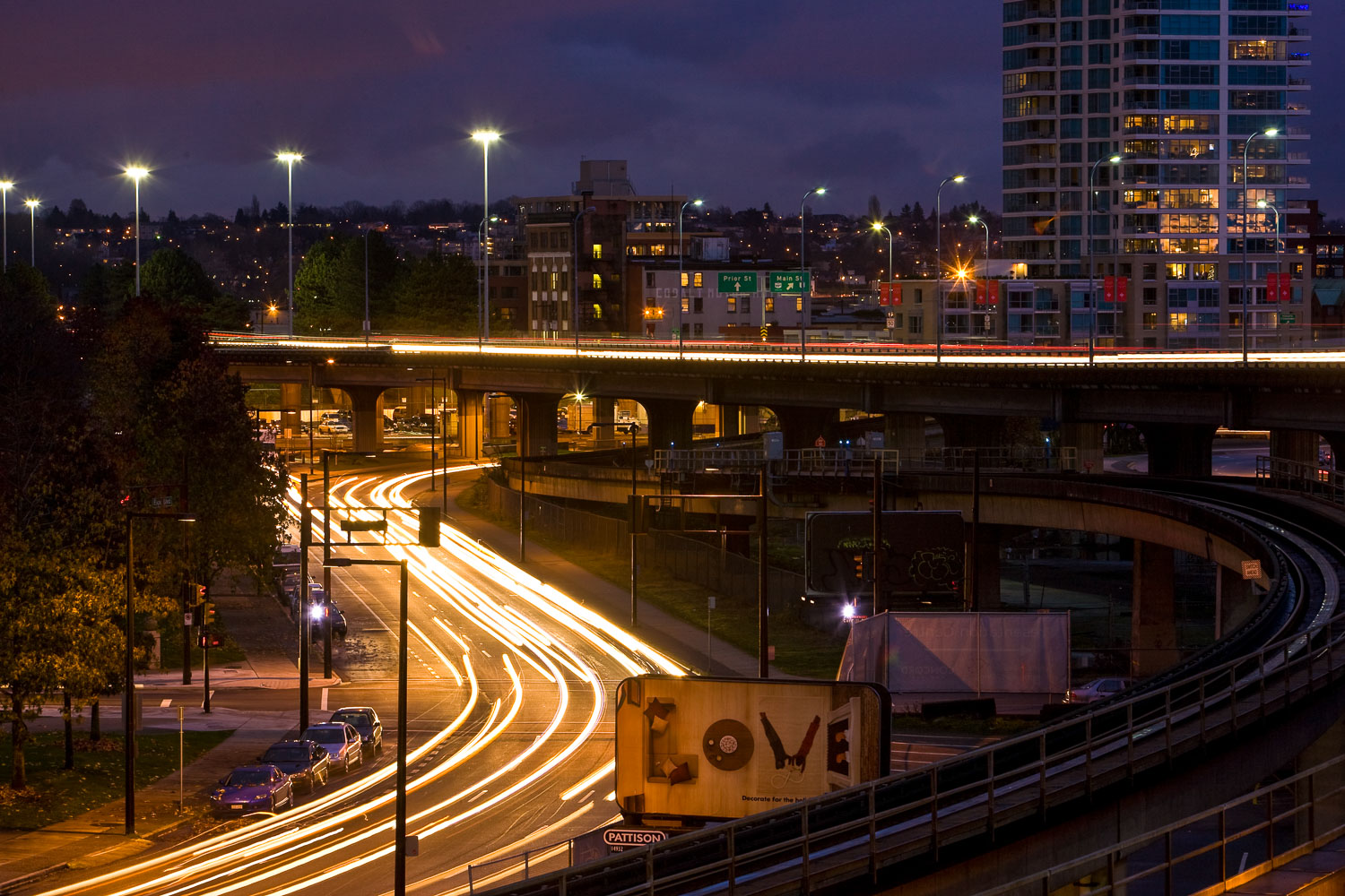 A long exposure photograph of a roadway in Halifax