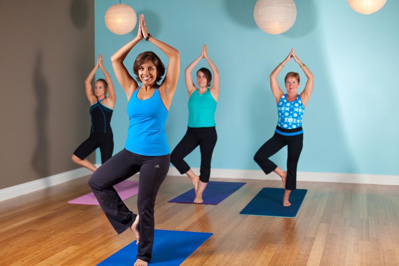 Portrait of women doing yoga