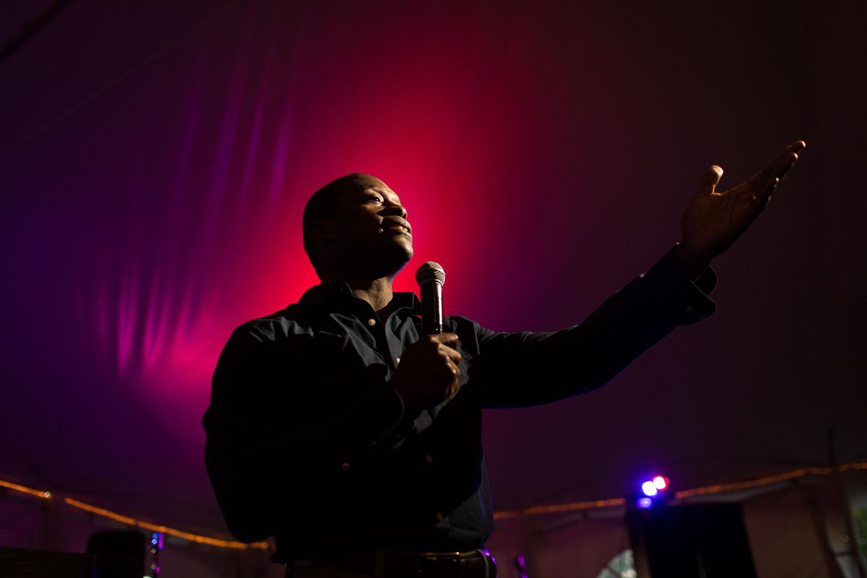 Portrait of a man giving a speech