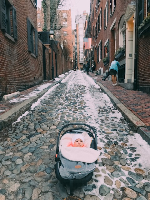 How cute is Malia on Acorn Street, one of the most photographed streets in America!