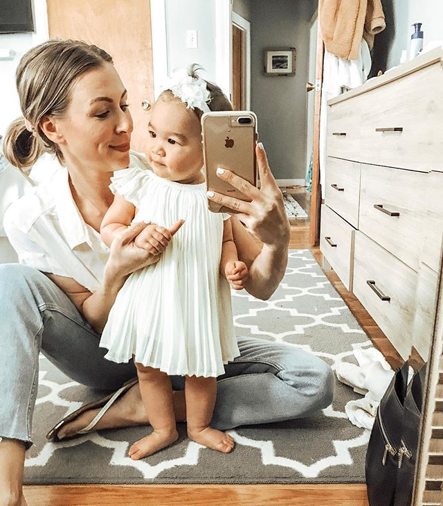 Getting dressed up to go absolutely nowhere = our favorite pastime💁🏽‍♀️ #mommyandme #mommyanddaughter #girlmama #9monthsold #twinningiswinning #bostonmom
