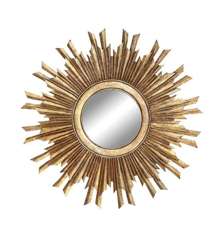 "35-1/2"" Round MDF Sunburst Mirror, Gold Finish- can order"