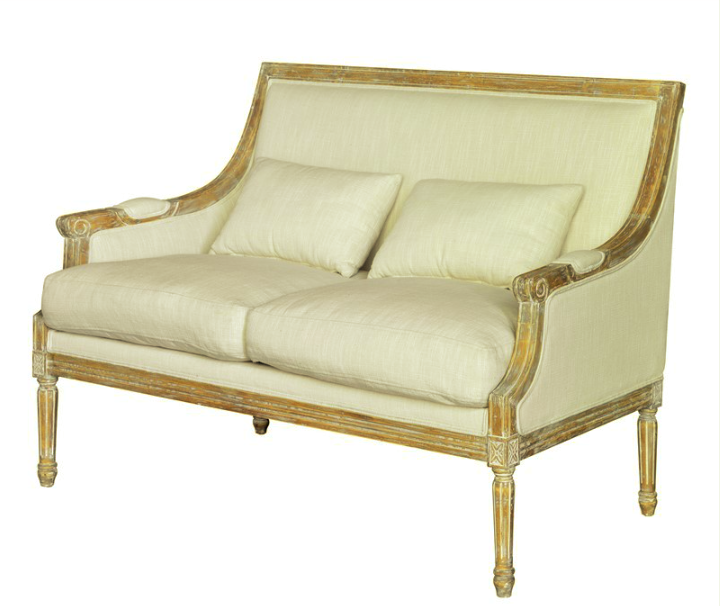 Reproduction French Settee covered in an off white durable fabric with a whitewashed finish to the frame.  Great details and comfortable! -  CAN ORDER