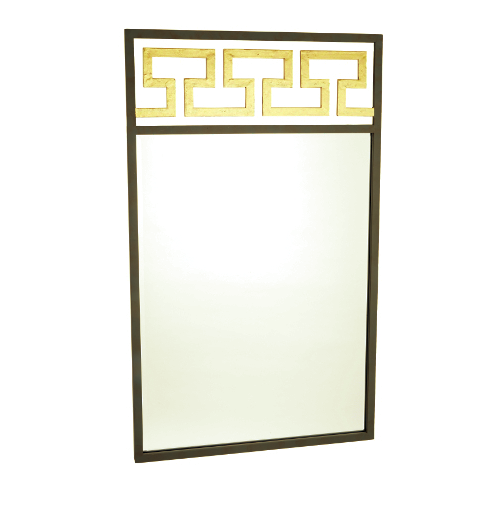 Grey and Gold greek key mirror