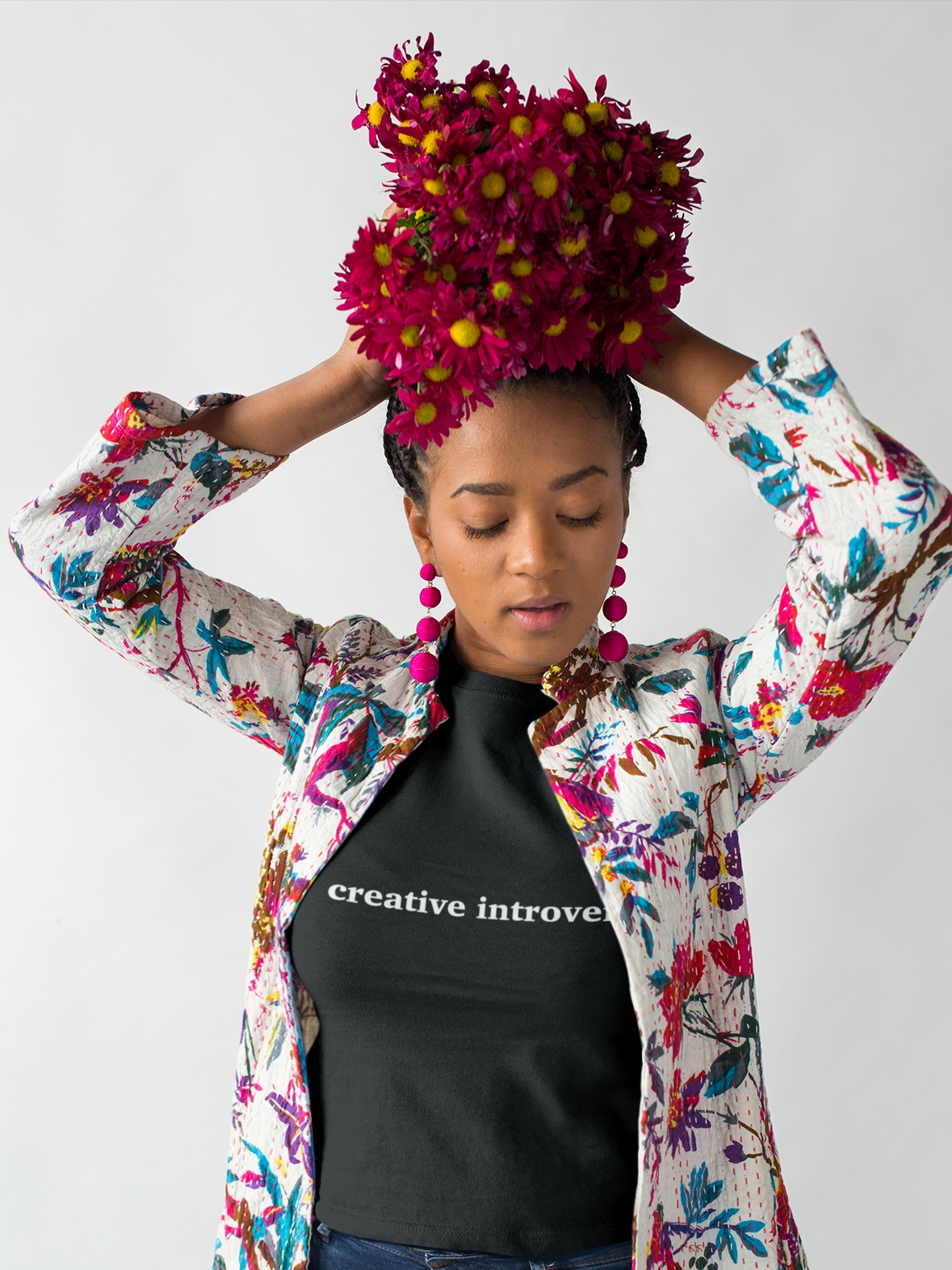 mockup-of-a-woman-wearing-a-t-shirt-holding-flowers-over-her-head-18395.png