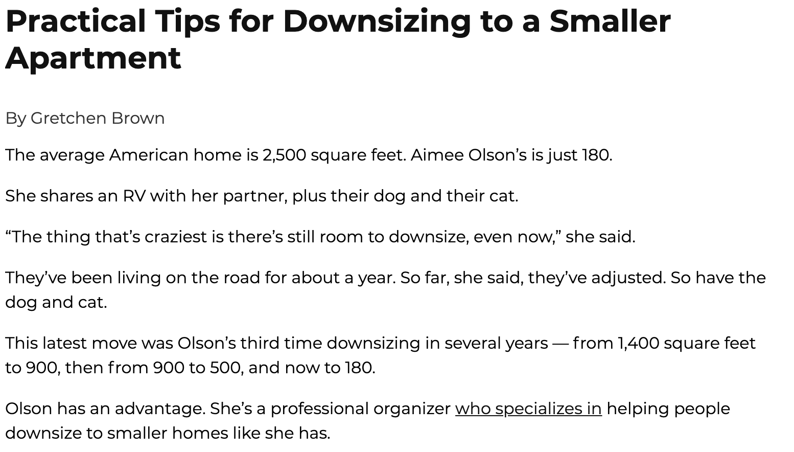 "Excerpt from ""Practical Tips for Downsizing"" PBS REWIRE"