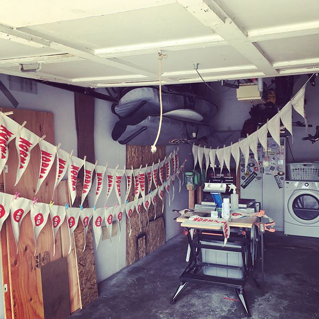 It's been a busy printing day in the garage studio. Hoping to have initial round of products available for purchase soon! #talmadgestreetpennants