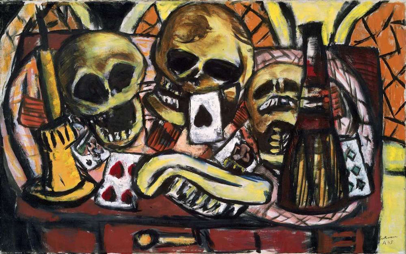 Max Beckmann, Still Life with Three Skulls (1945)