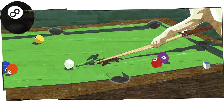 Dog Playing Pool
