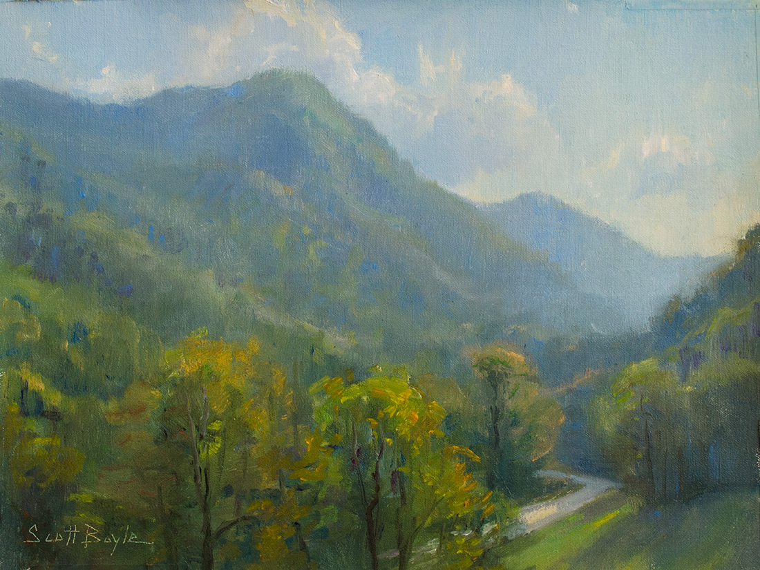 """Recent painting - 'View from the Gathering Place"""" 12 x 16 oil -Chimney Rock, NC"""