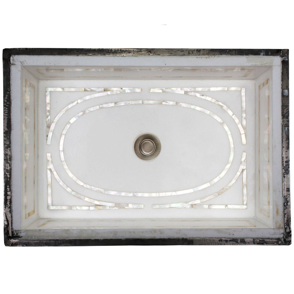 LINKASINK MI04 WHITE MARBLE GRAPHIC MOTHER OF PEARL INLAY, UNDERMOUNT, 18.25