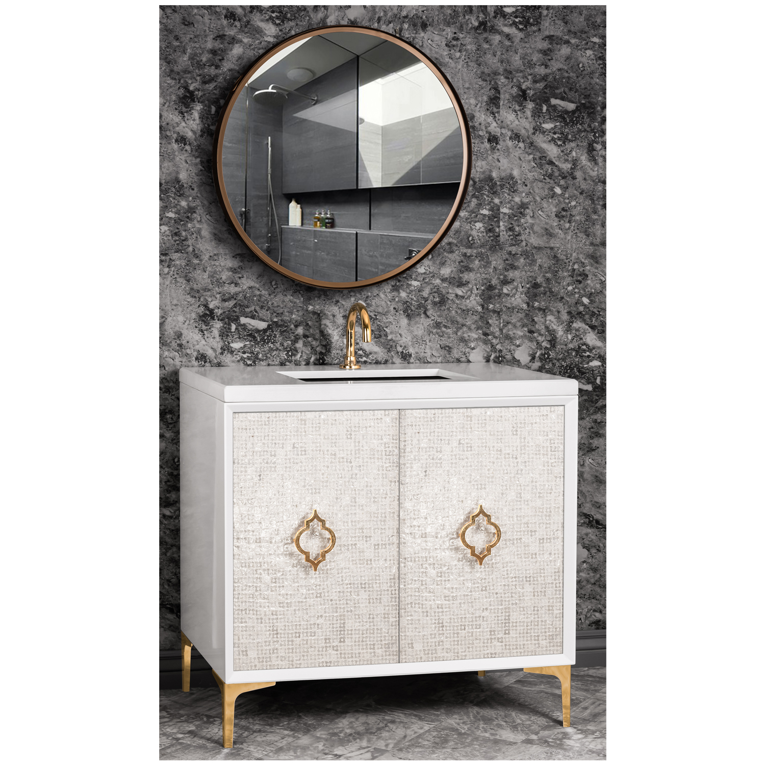 """VAN36W-004   36"""" White Mother of Pearl with Arabesque - Shown with PB (Polished Brass Finish)"""