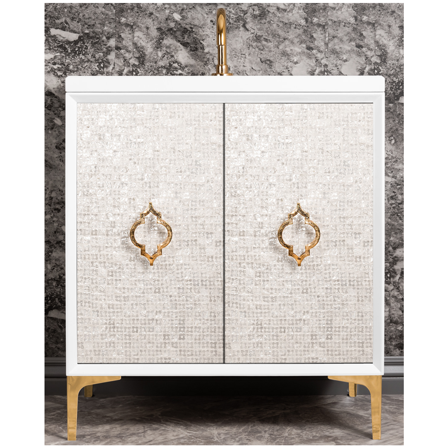 """VAN30W-004   30"""" White Mother of Pearl with Arabesque - Shown with PB (Polished Brass Finish)"""