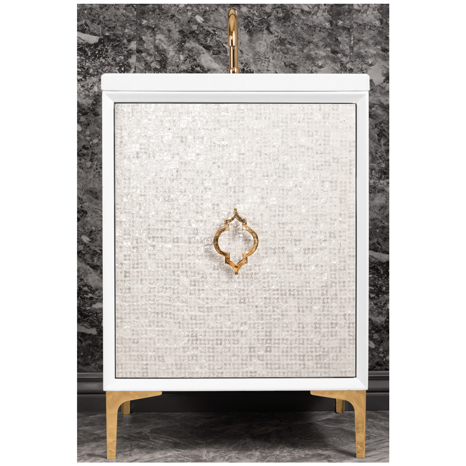 """VAN24W-004   24"""" White Mother of Pearl with Arabesque - Shown with PB (Polished Brass Finish)"""