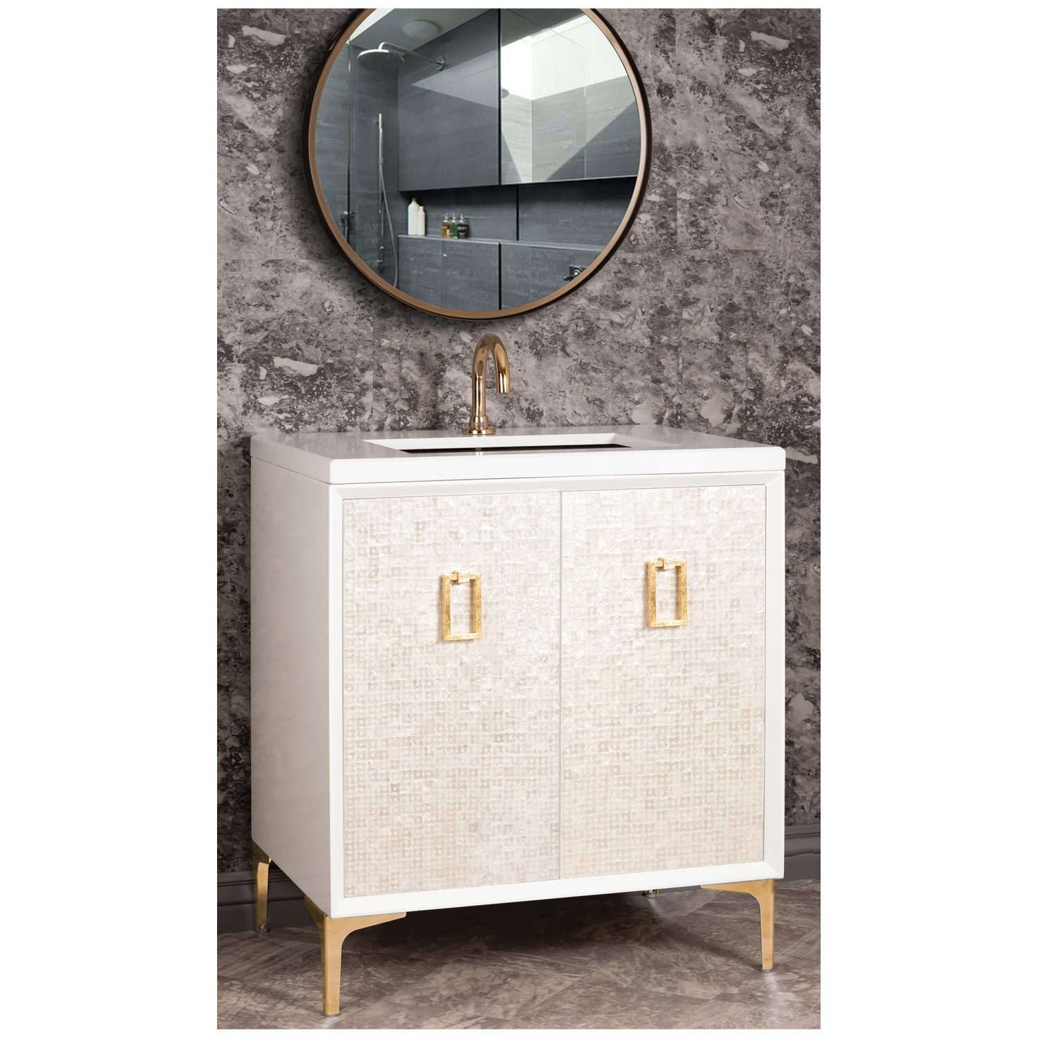 "VAN30W-005  30"" White Mother of Pearl with Coach - Shown with PB (Polished Brass Finish)"