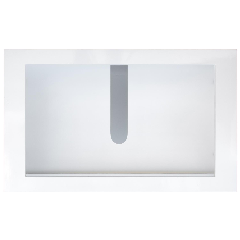 White vanity top down view with no vanity top