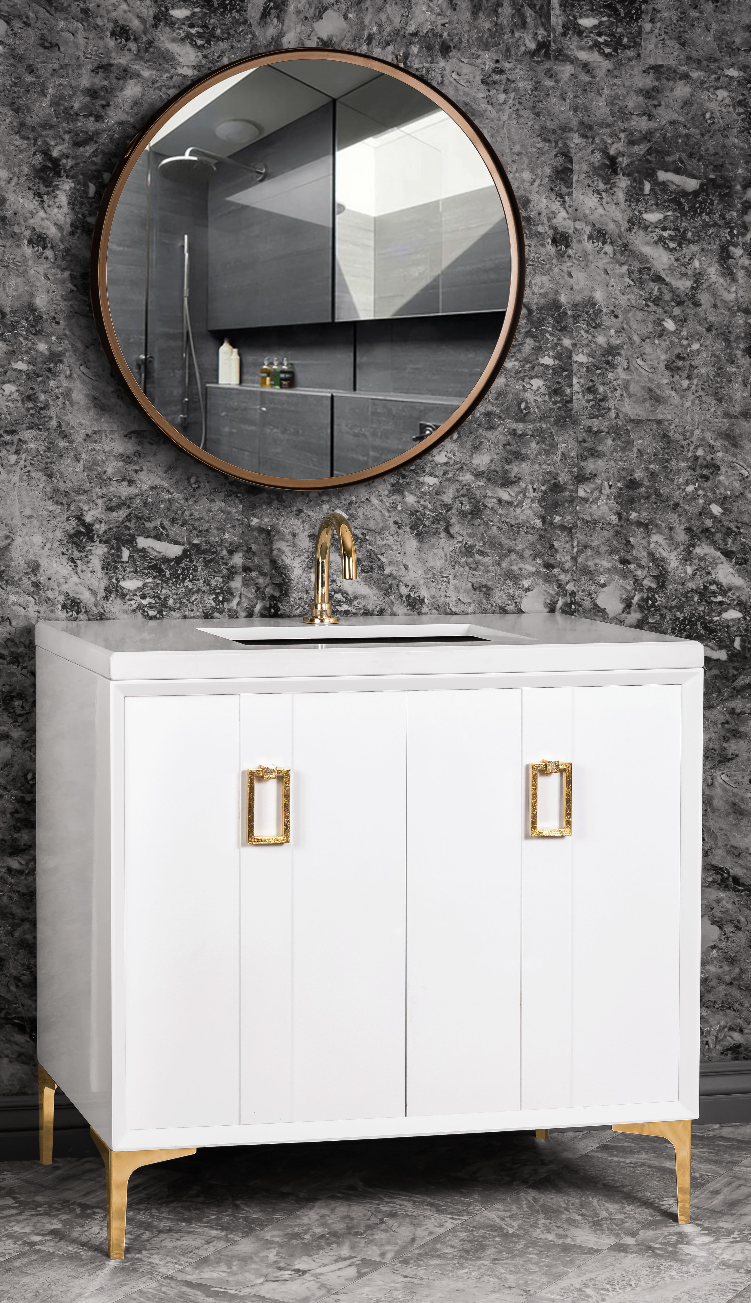 "VAN36W-008   36"" White Tuxedo with Coach - Shown with PB (Polished Brass Finish)"