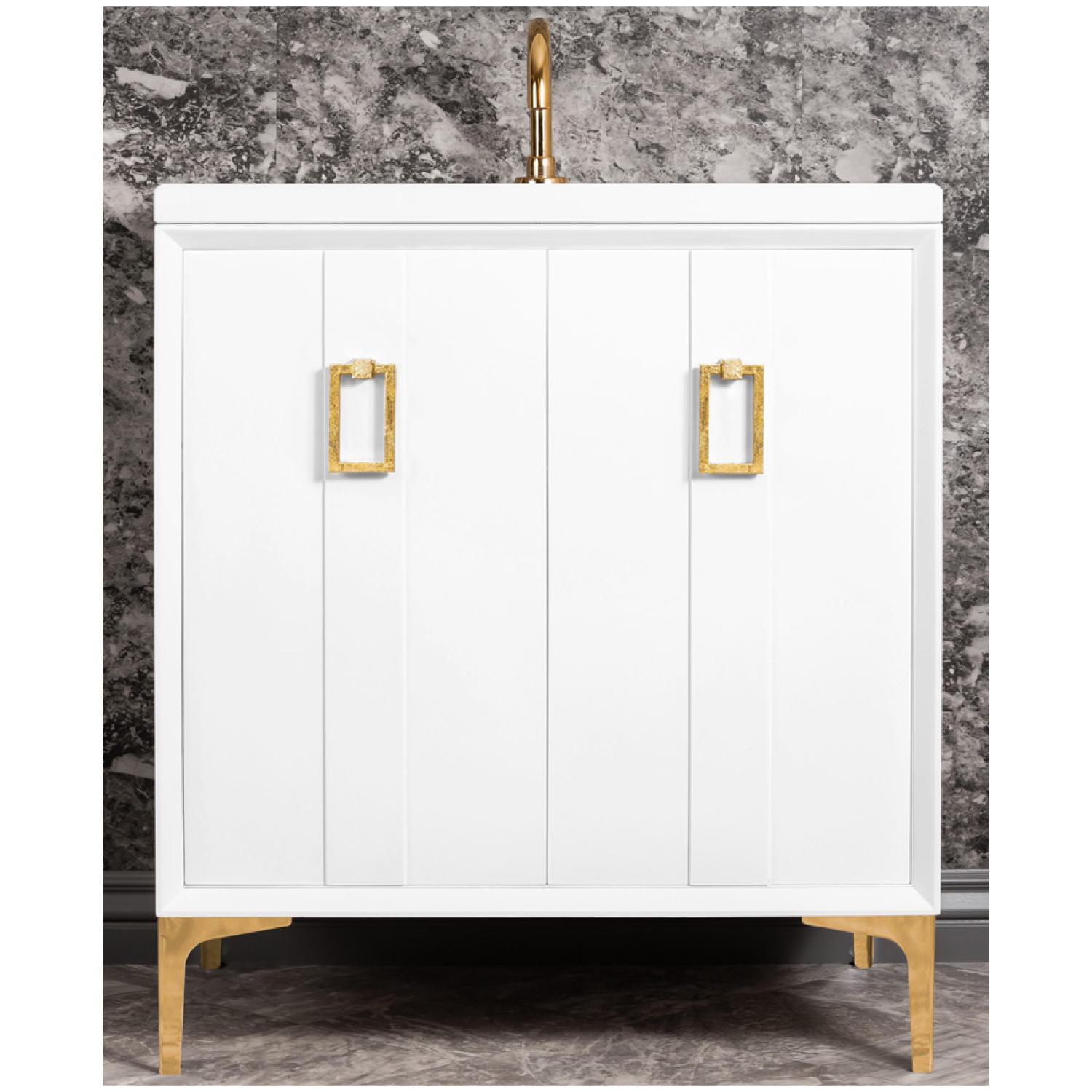 "VAN30W-008   30"" White Tuxedo with Coach - Shown with PB (Polished Brass Finish)"