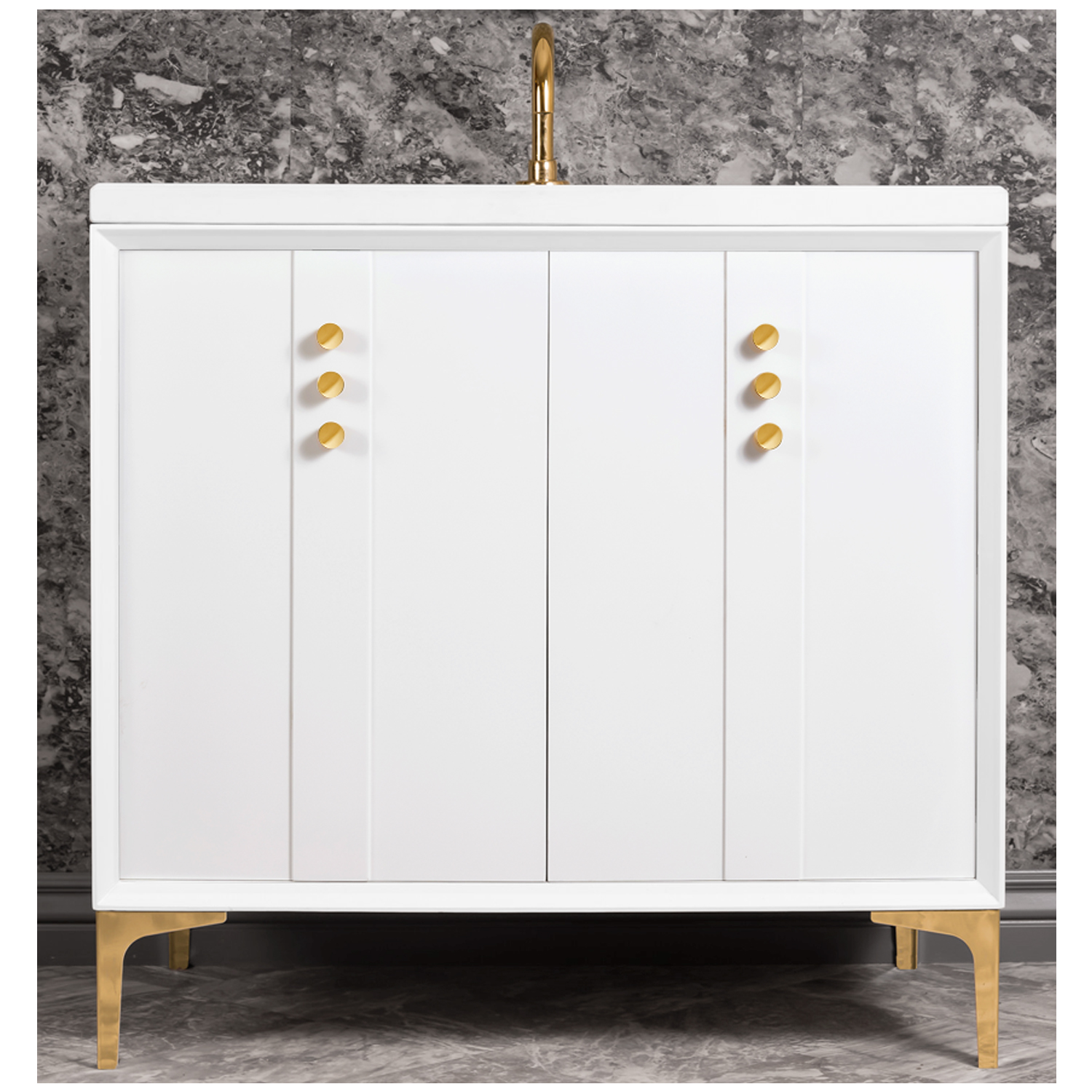 "VAN36W-009   36"" White Tuxedo with Buttons - Shown with PB (Polished Brass Finish)"