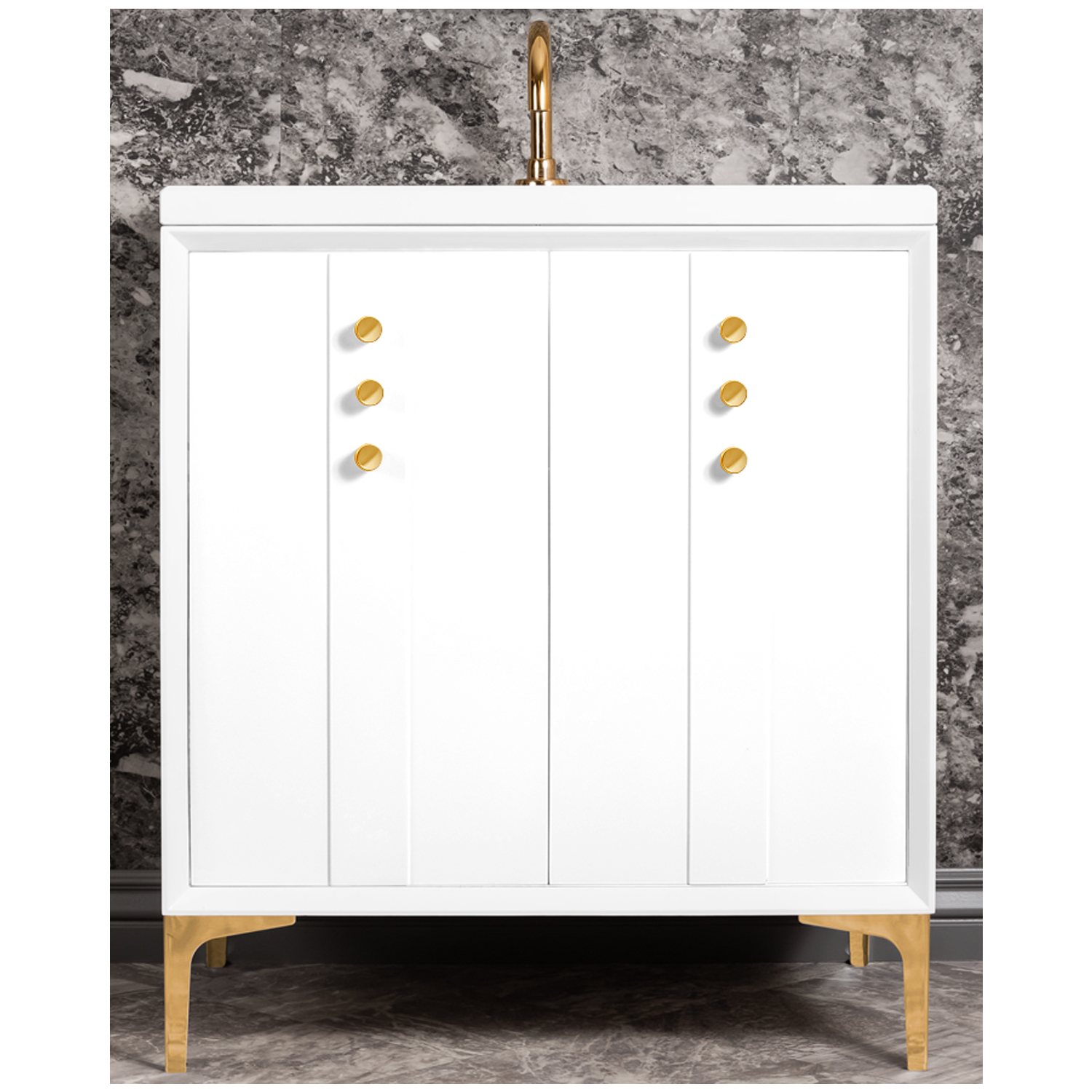 "VAN30W-009   30"" White Tuxedo with Buttons - Shown with PB (Polished Brass Finish)"