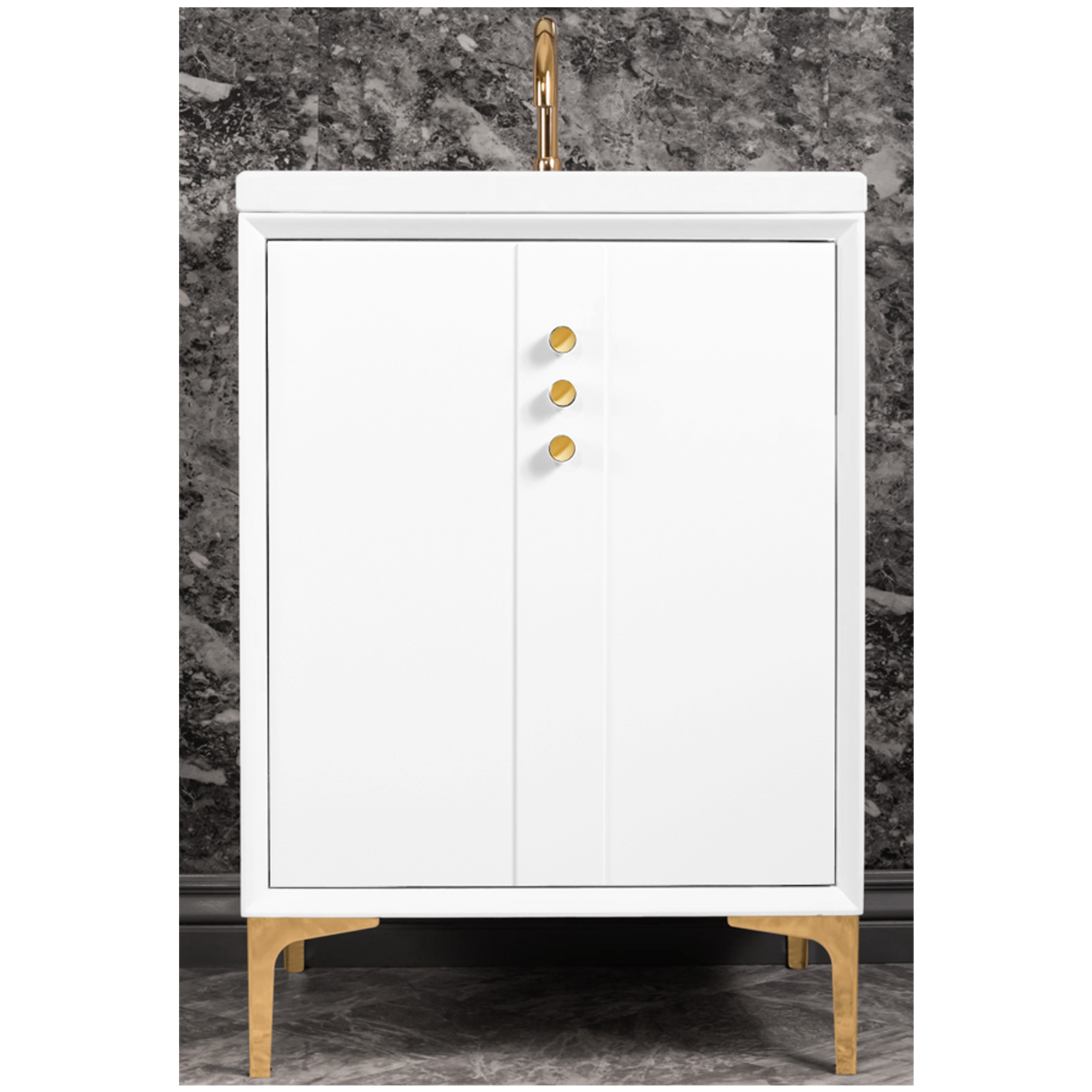 "VAN24W-009   24"" White Tuxedo with Buttons - Shown with PB (Polished Brass Finish)"
