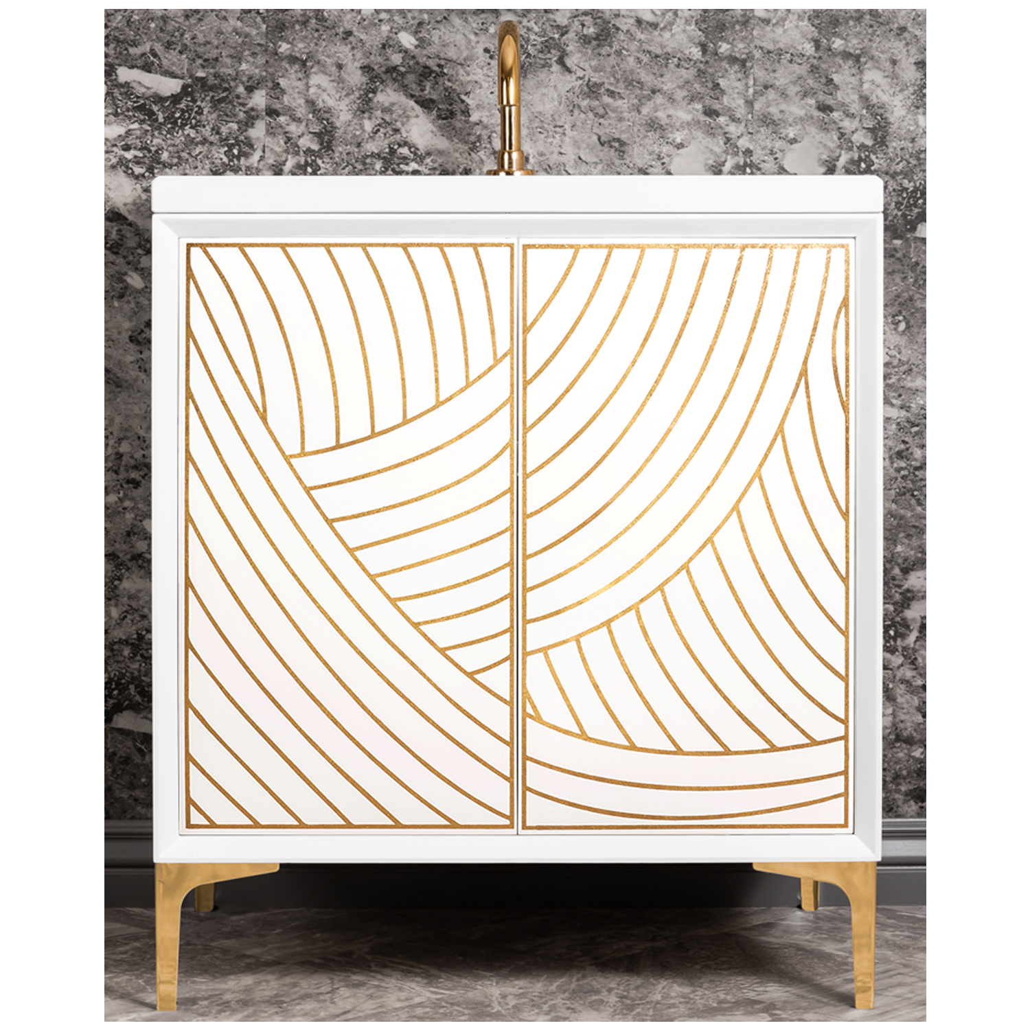 "VAN30W-001   30"" White Lateen - Shown with PB (Polished Brass Finish)"