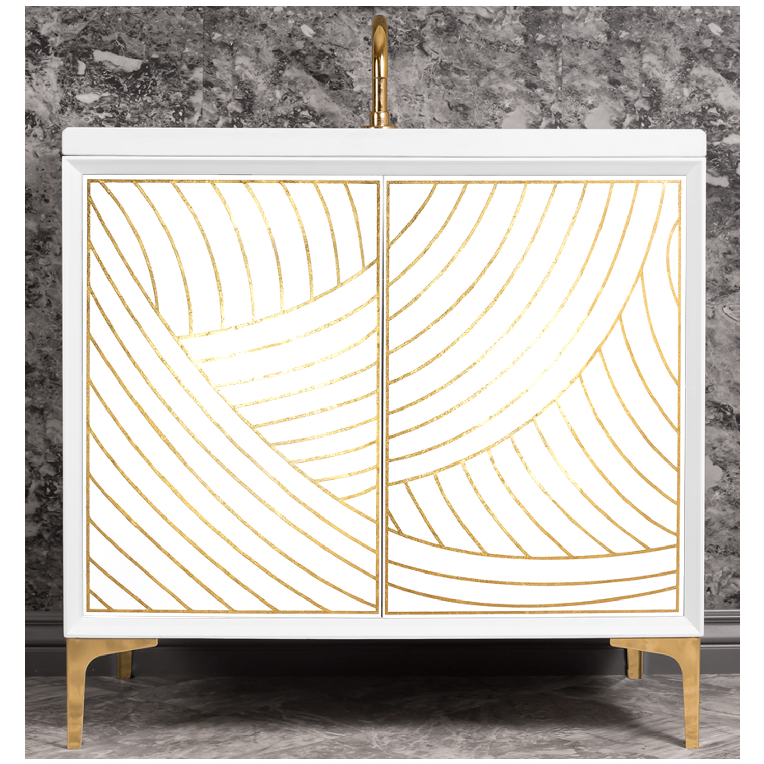 "VAN36W-001   36"" White Lateen - Shown with PB (Polished Brass Finish)"