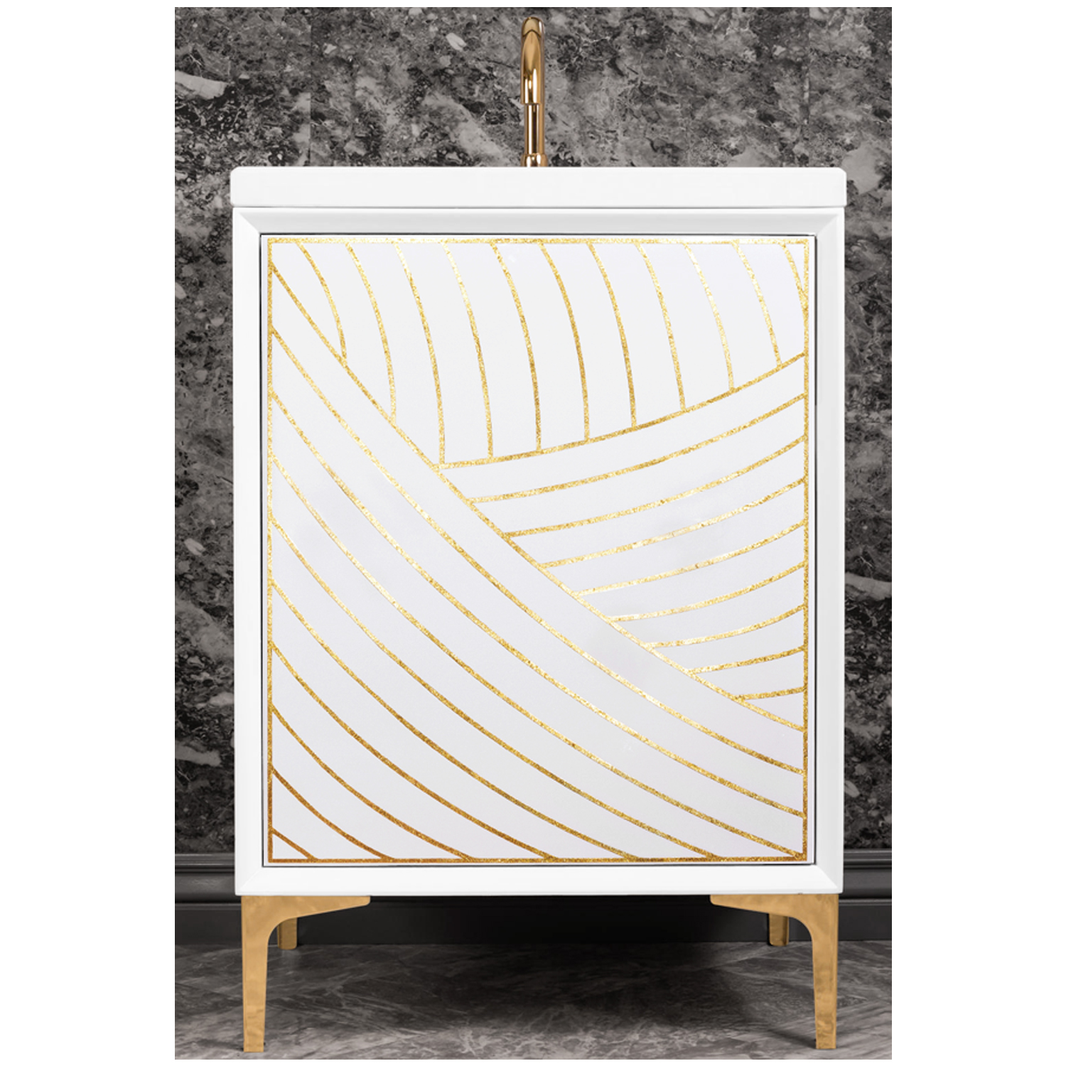 "VAN24W-001   24"" White Lateen - Shown with PB (Polished Brass Finish)"