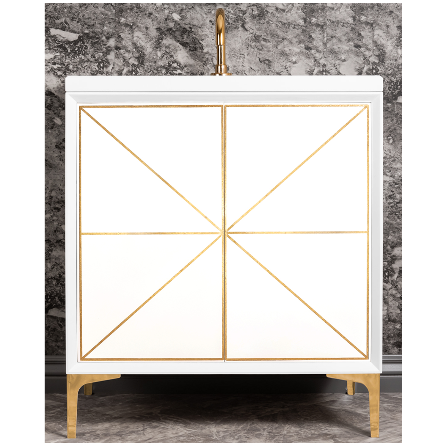 """VAN30W-002   30"""" White Divergence - Shown with PB (Polished Brass Finish)"""