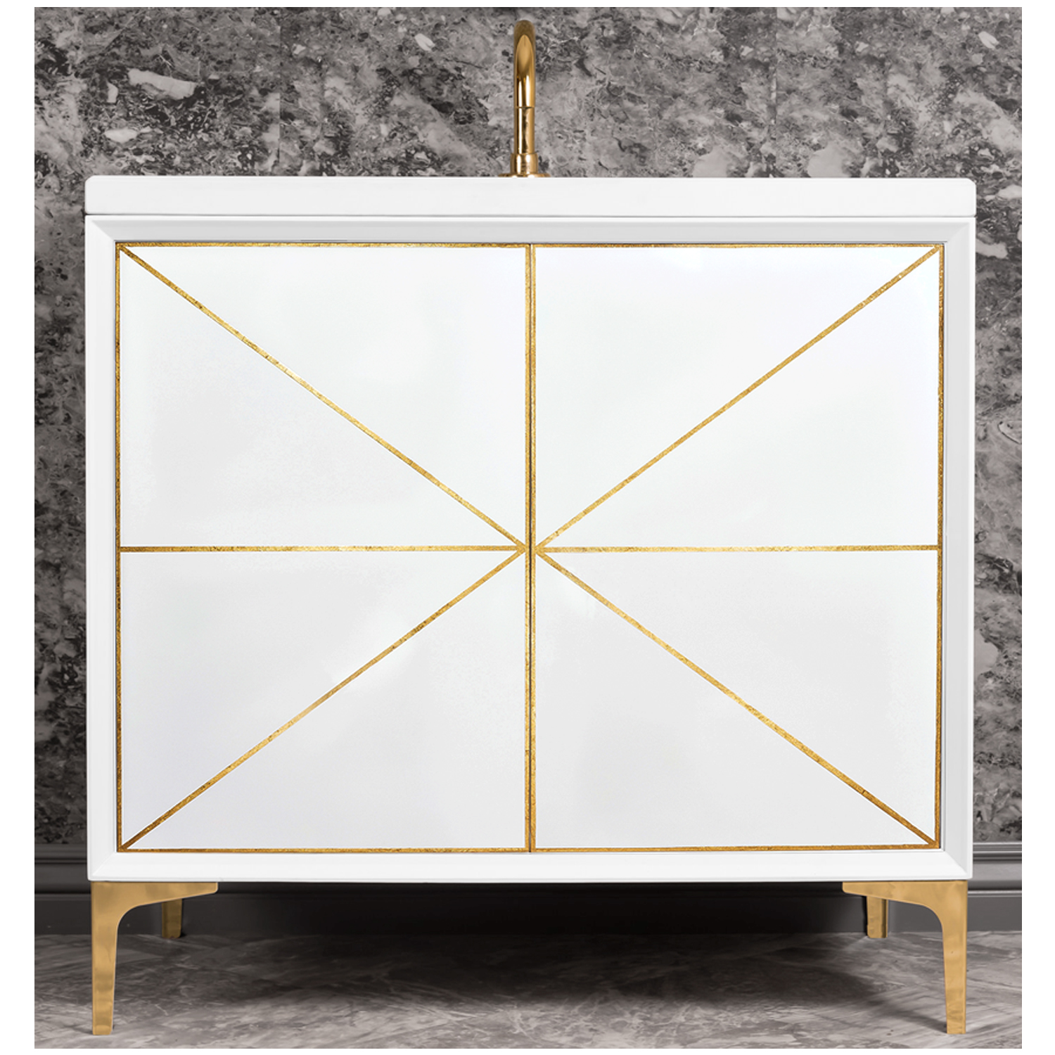 "VAN36W-002   36"" White Divergence - Shown with PB (Polished Brass Finish)"
