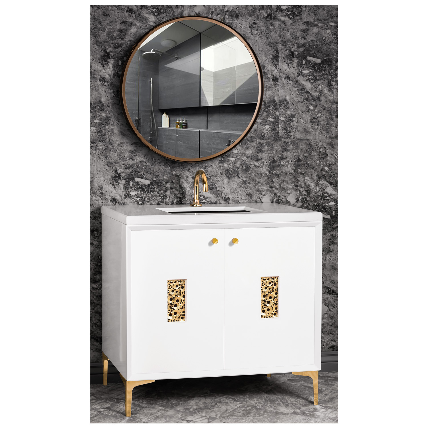 """VAN36W-010   36"""" White Frame with Coral - Shown with PB (Polished Brass)"""