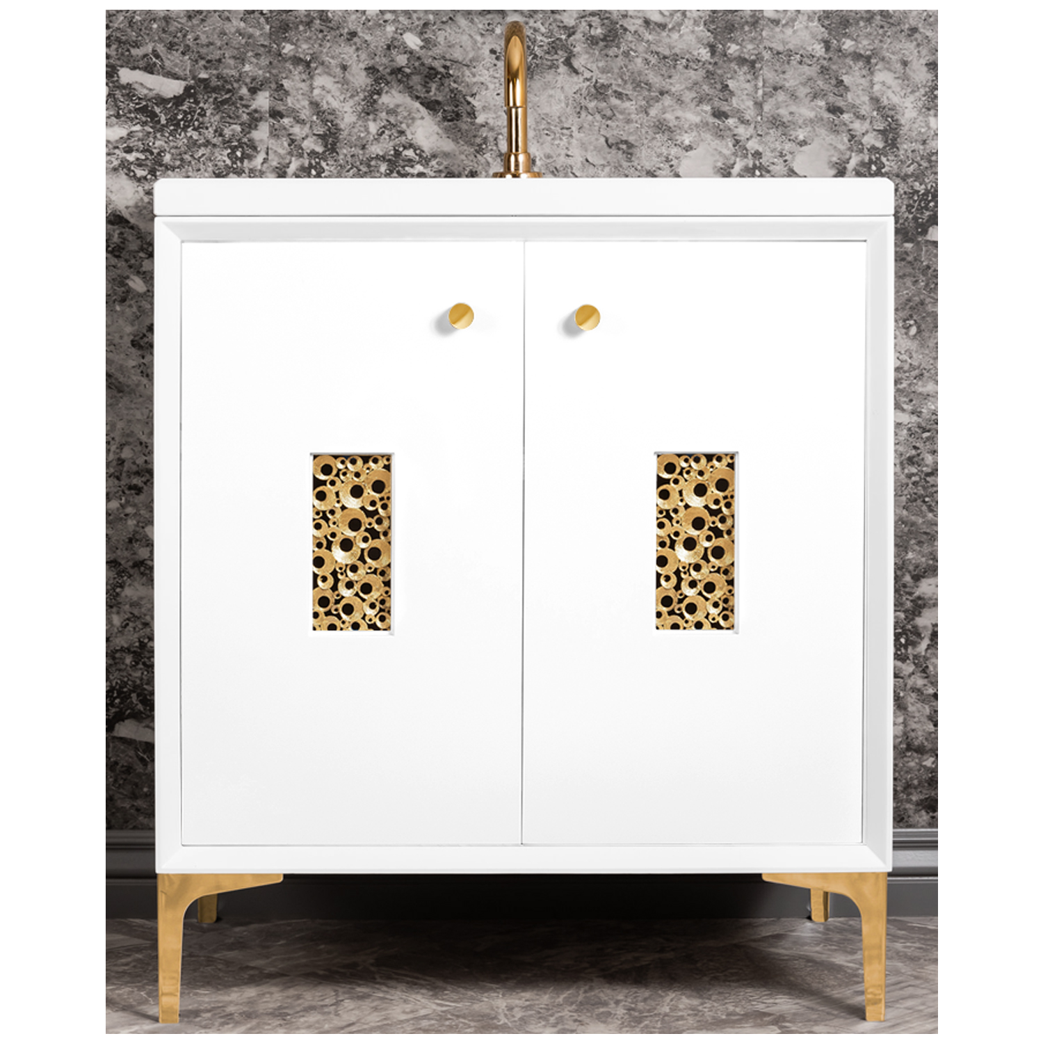 """VAN30W-010   30"""" White Frame with Coral - Shown with PB (Polished Brass)"""