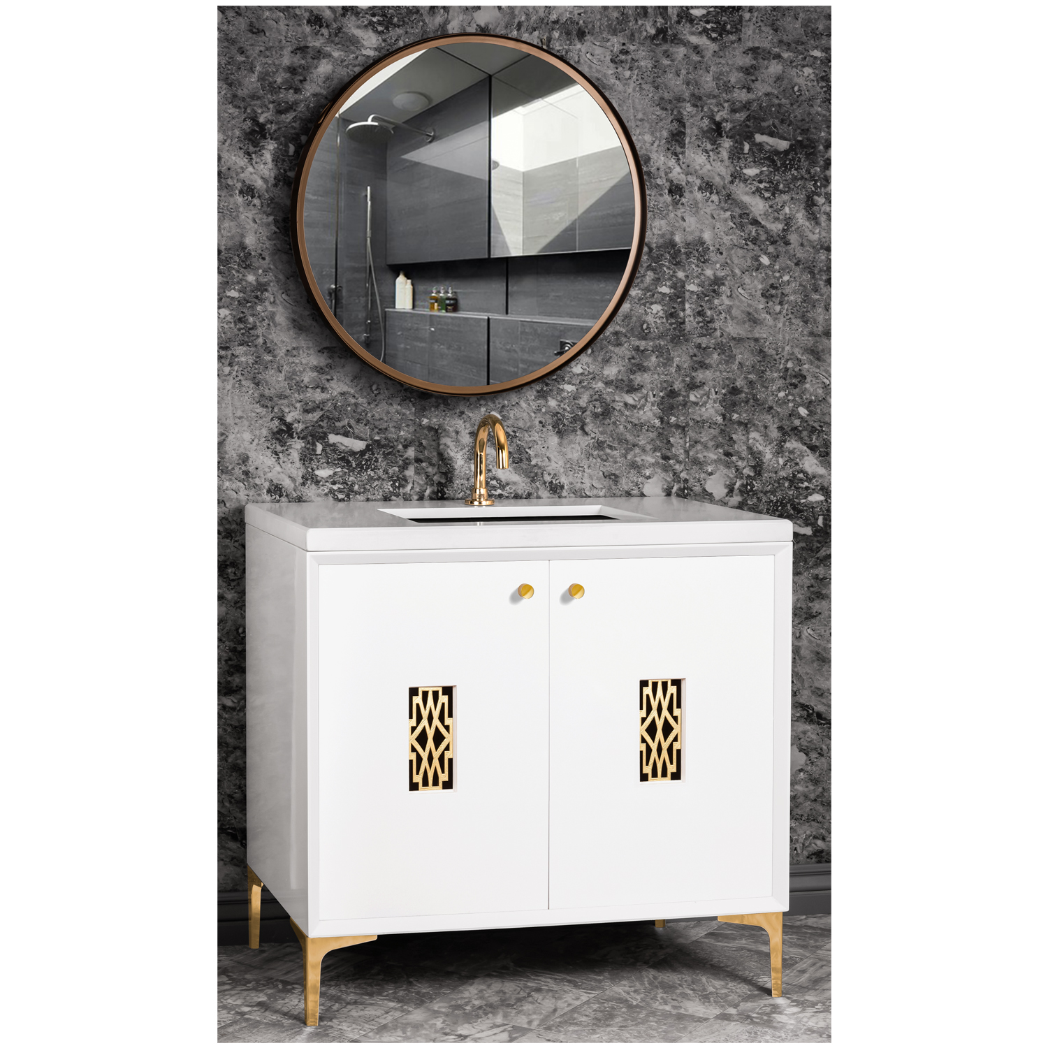 """VAN36W-011   36"""" White Frame with Deco - Shown with PB (Polished Brass)"""