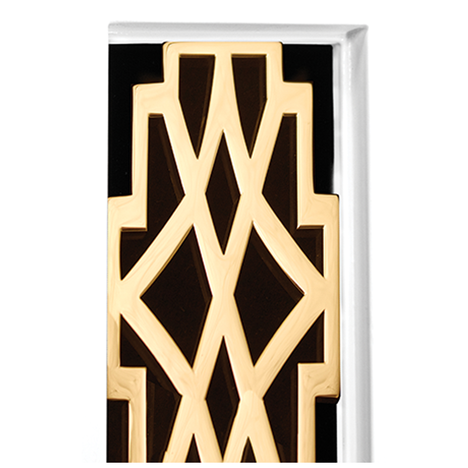 White Frame with Deco Door Detail - Shown with PB (Polished Brass)