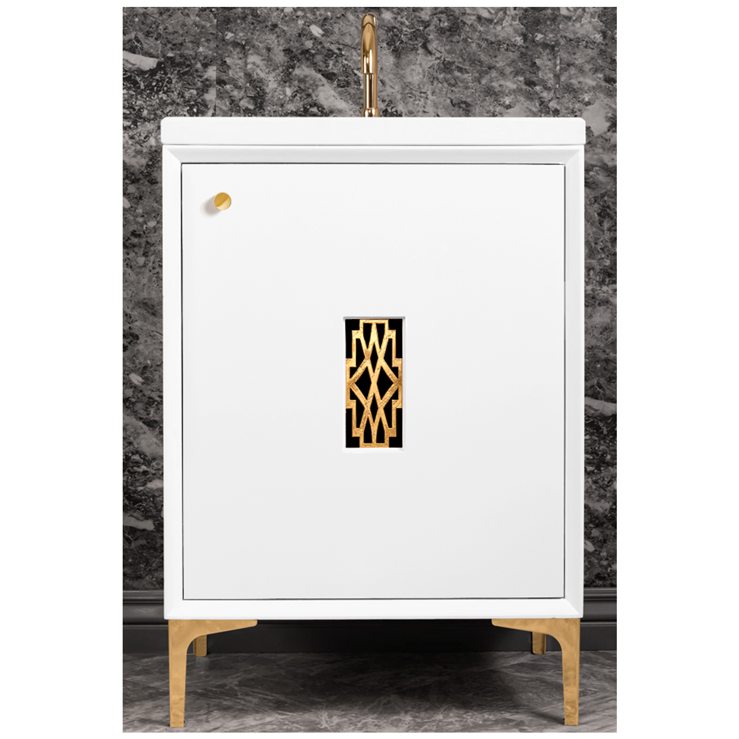 """VAN24W-011   24"""" White Frame with Deco  - Shown with PB (Polished Brass)"""