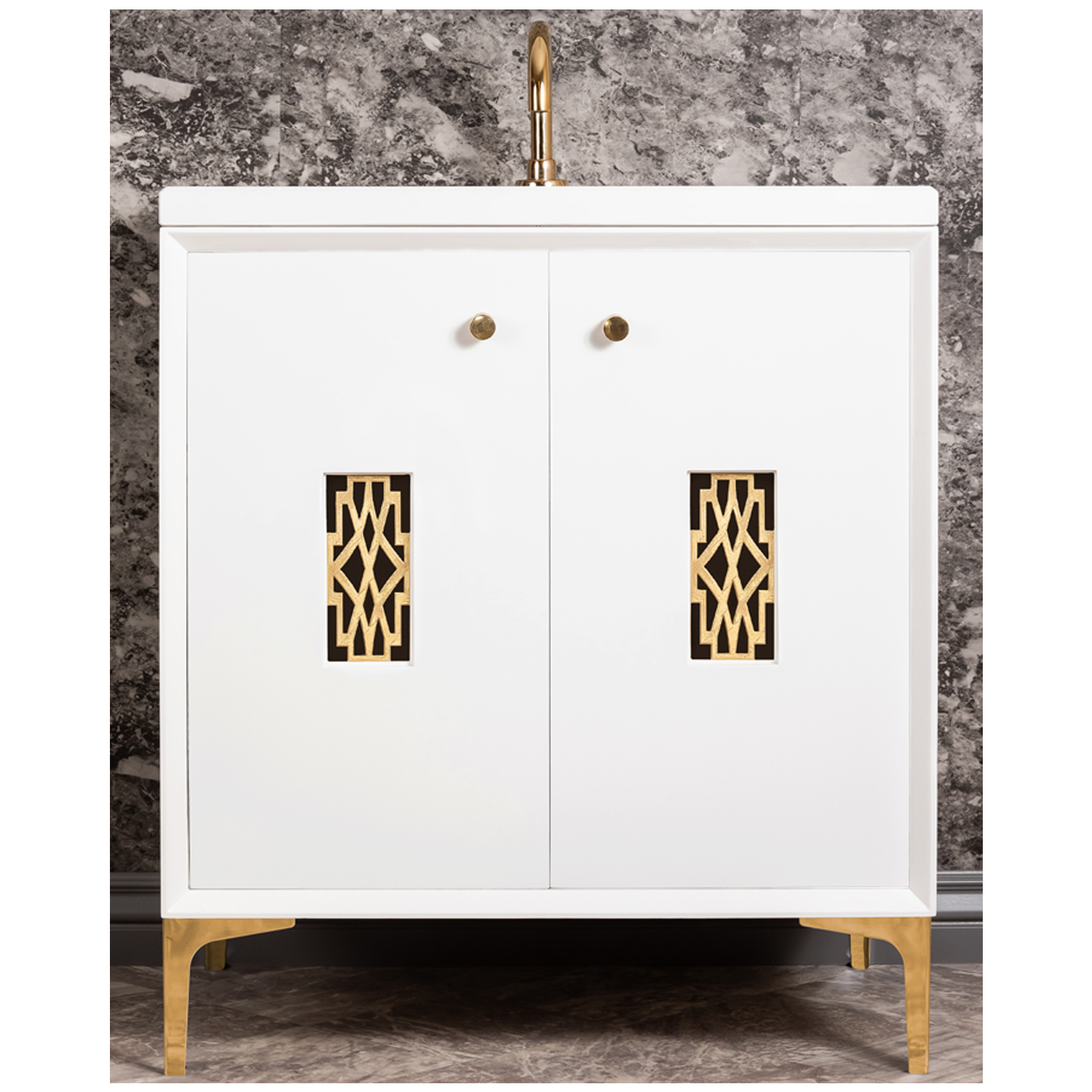 """VAN30W-011   30"""" White Frame with Deco  - Shown with PB (Polished Brass)"""