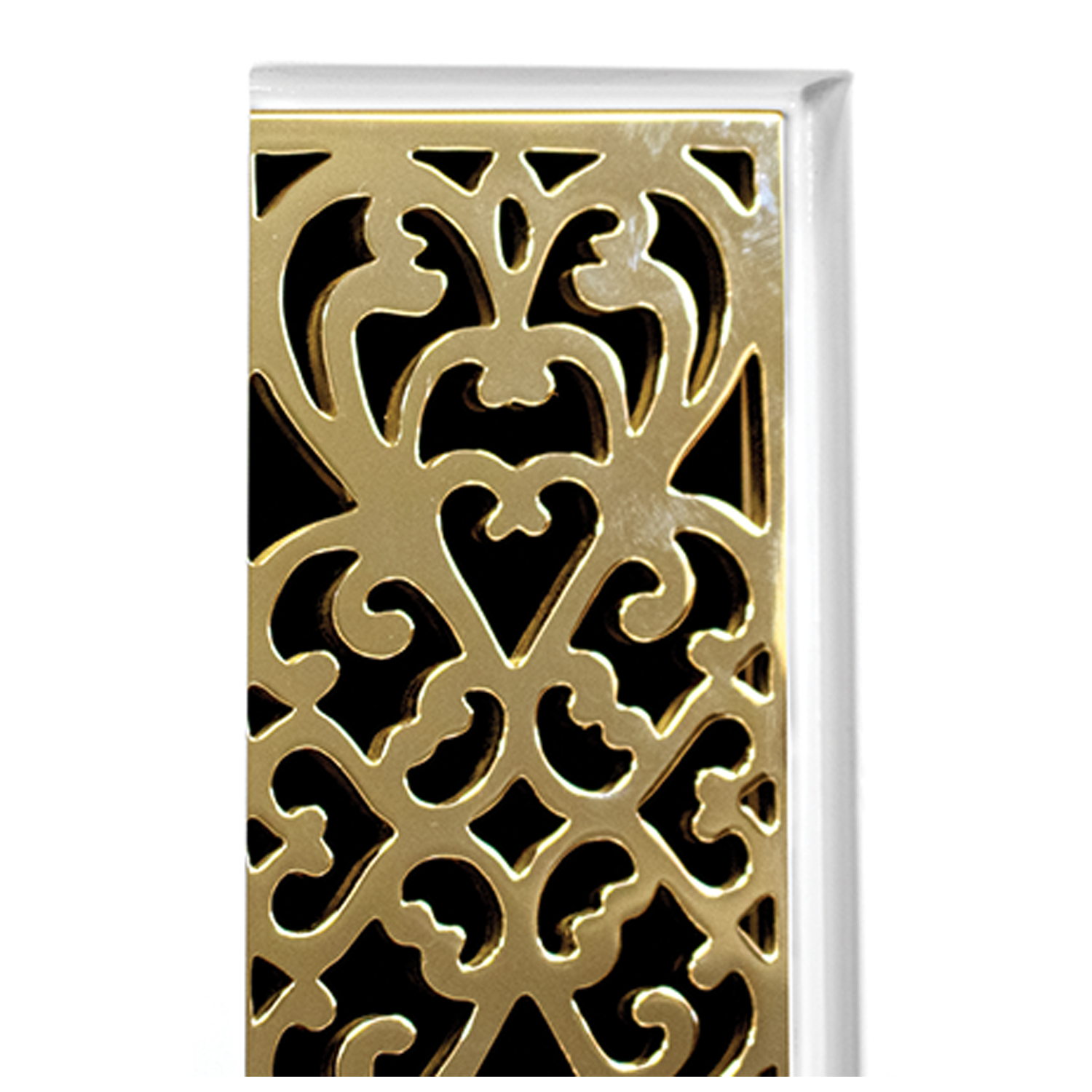 White Frame with Filigree Door Detail - Shown with PB (Polished Brass)