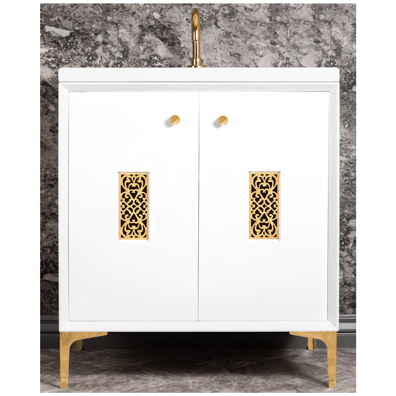 """VAN30W-012   30"""" White Frame with Filigree - Shown with PB (Polished Brass)"""