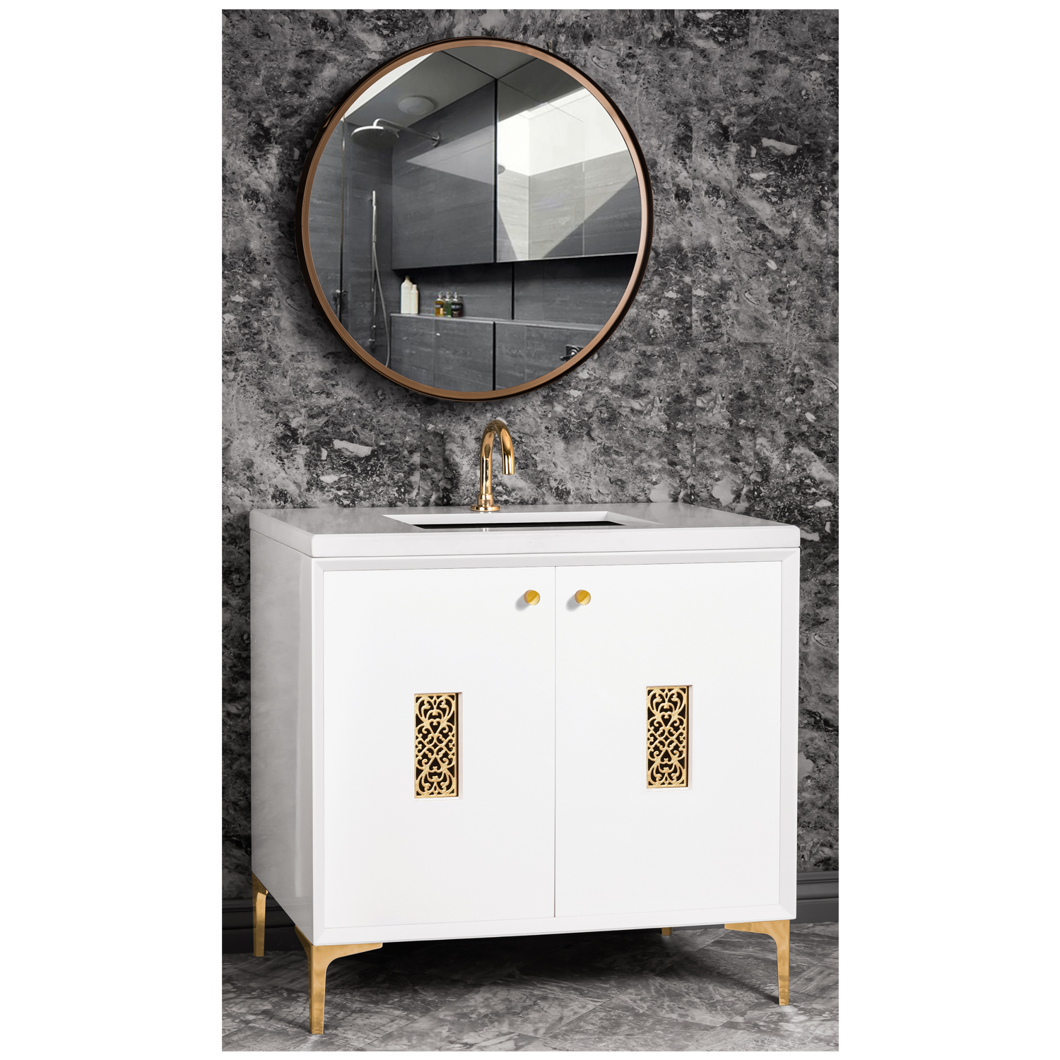 """VAN36W-012   36"""" White Frame with Filigree - Shown with PB (Polished Brass)"""