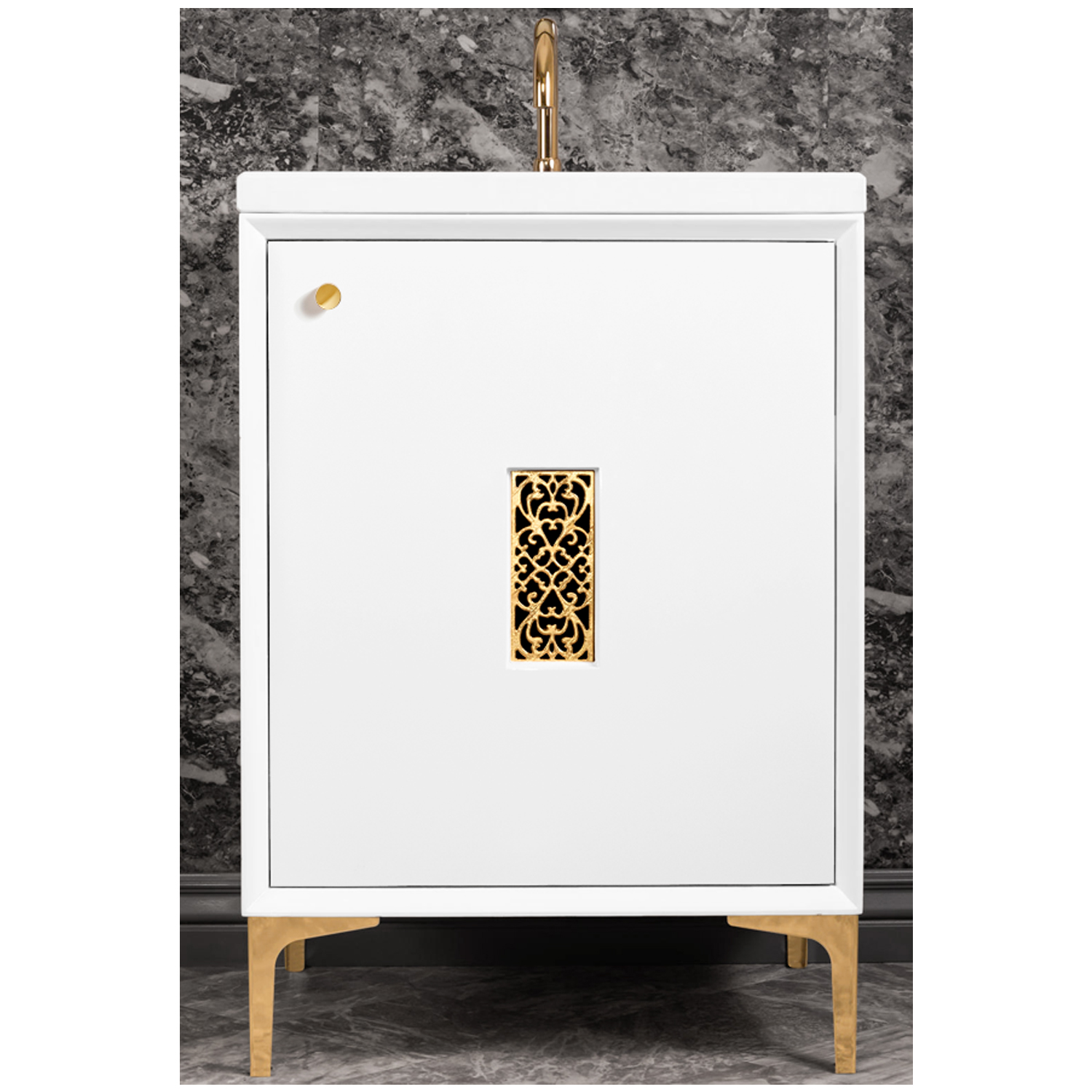 """VAN24W-012   24"""" White Frame with Filigree - Shown with PB (Polished Brass)"""