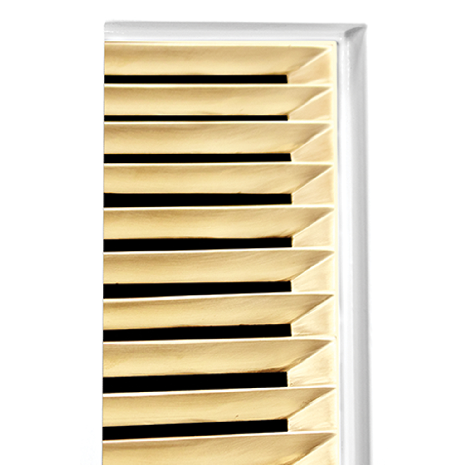 White Frame with Louver Door Detail - Shown with PB (Polished Brass)