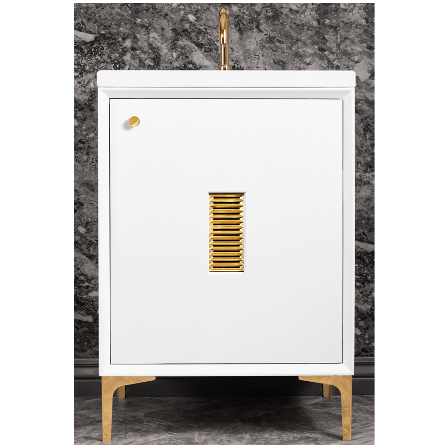 """VAN24W-012   24"""" White Frame with Louver - Shown with PB (Polished Brass)"""