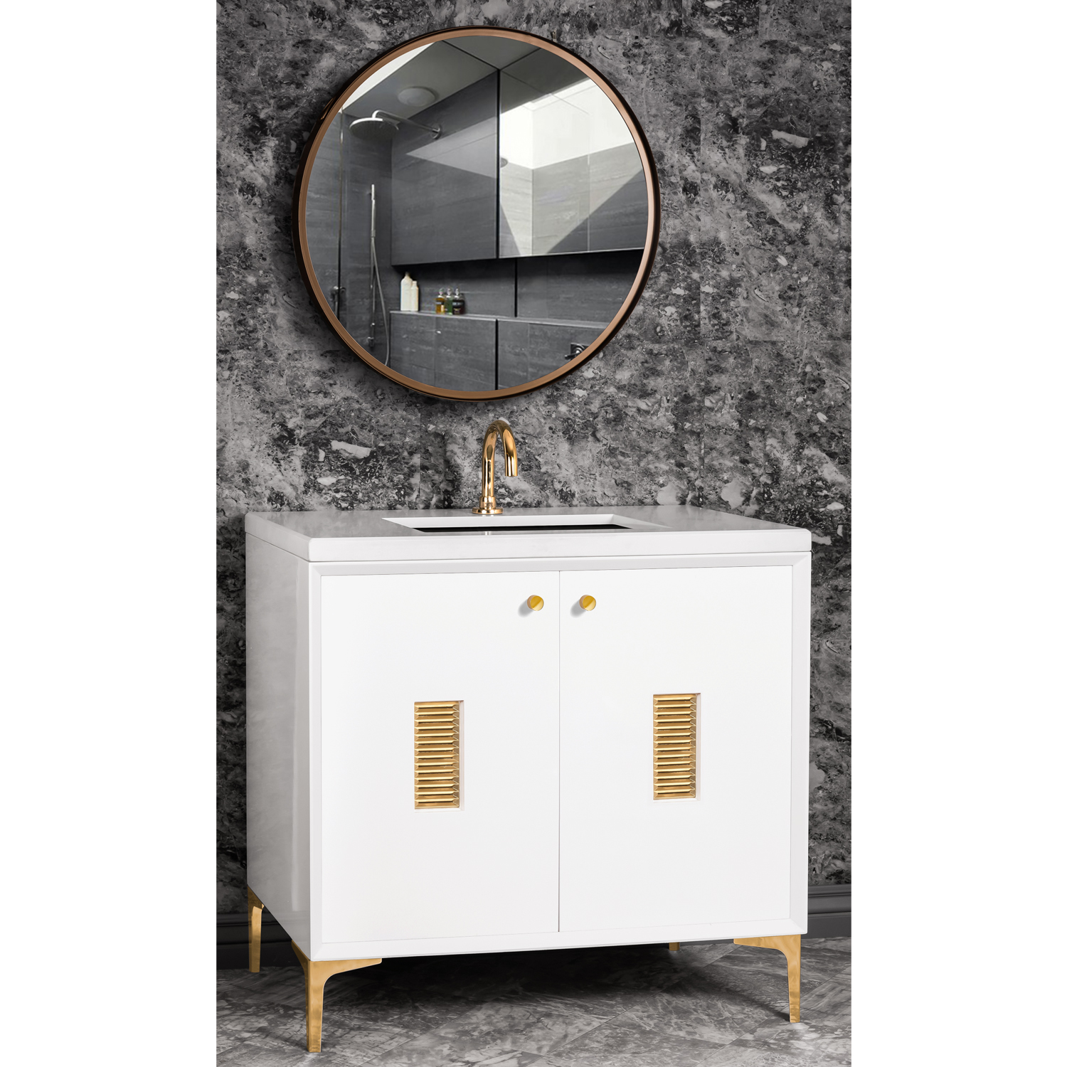 """VAN36W-012   36"""" White Frame with Louver - Shown with PB (Polished Brass)"""