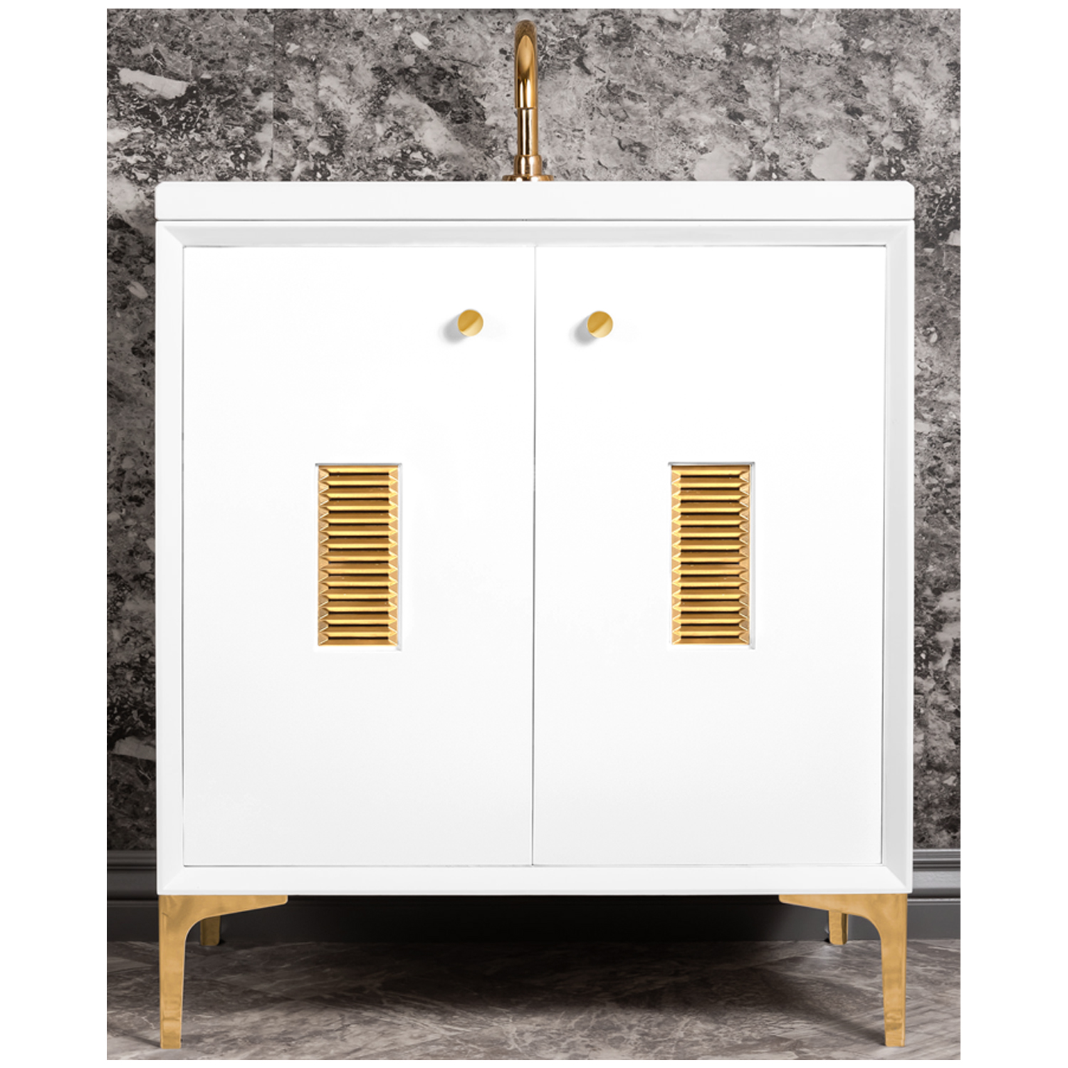 """VAN30W-012   30"""" White Frame with Louver - Shown with PB (Polished Brass)"""