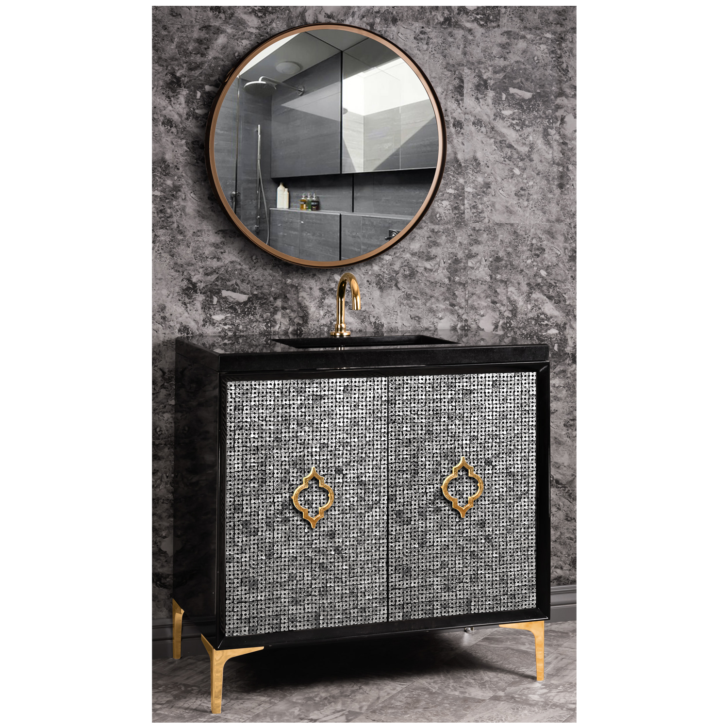 """VAN36B-006 36"""" Black Mother of Pearl with Arabesque - Shown with PB (Polished Brass)"""