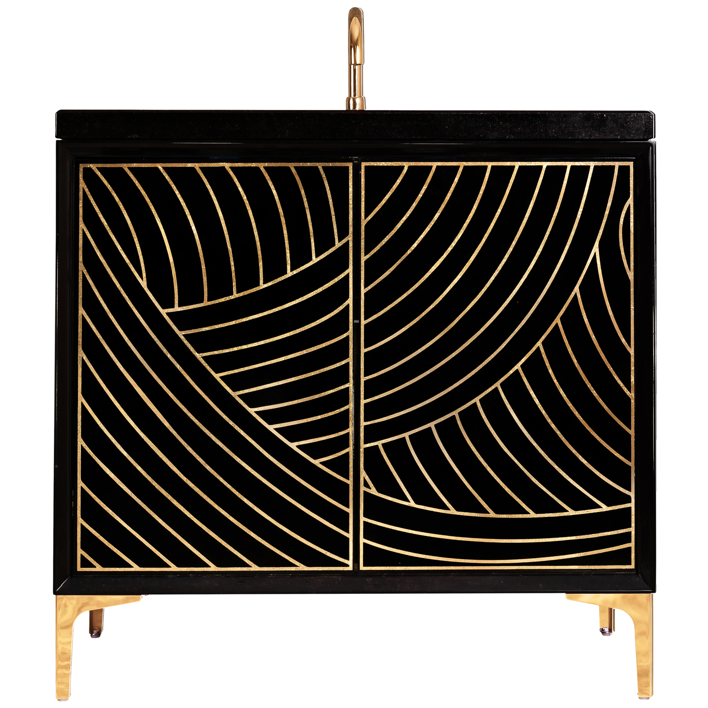 "VAN36B-001 36"" Black Lateen - Shown with PB (Polished Brass)"