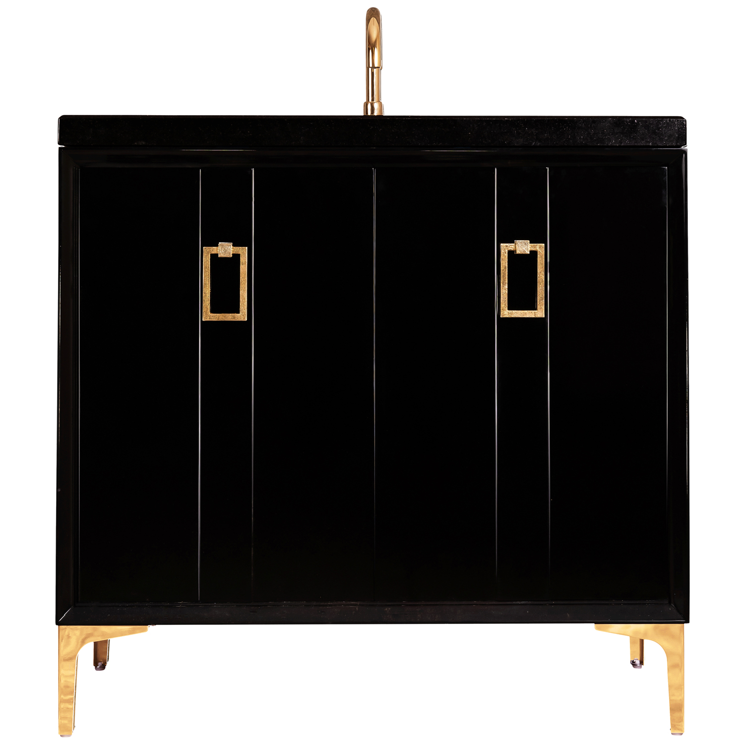 """VAN36B-008 36"""" Black Tuxedo With Coach - Shown with PB (Polished Brass)"""