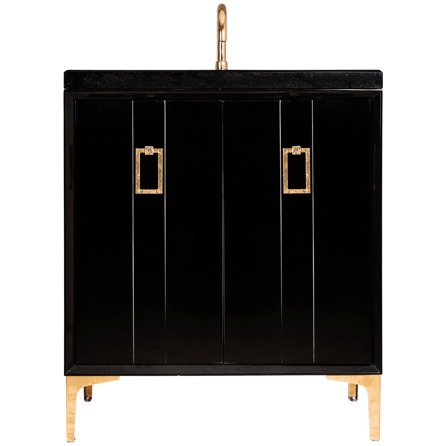 """VAN30B-008 30"""" Black Tuxedo With Coach - Shown with PB (Polished Brass)"""