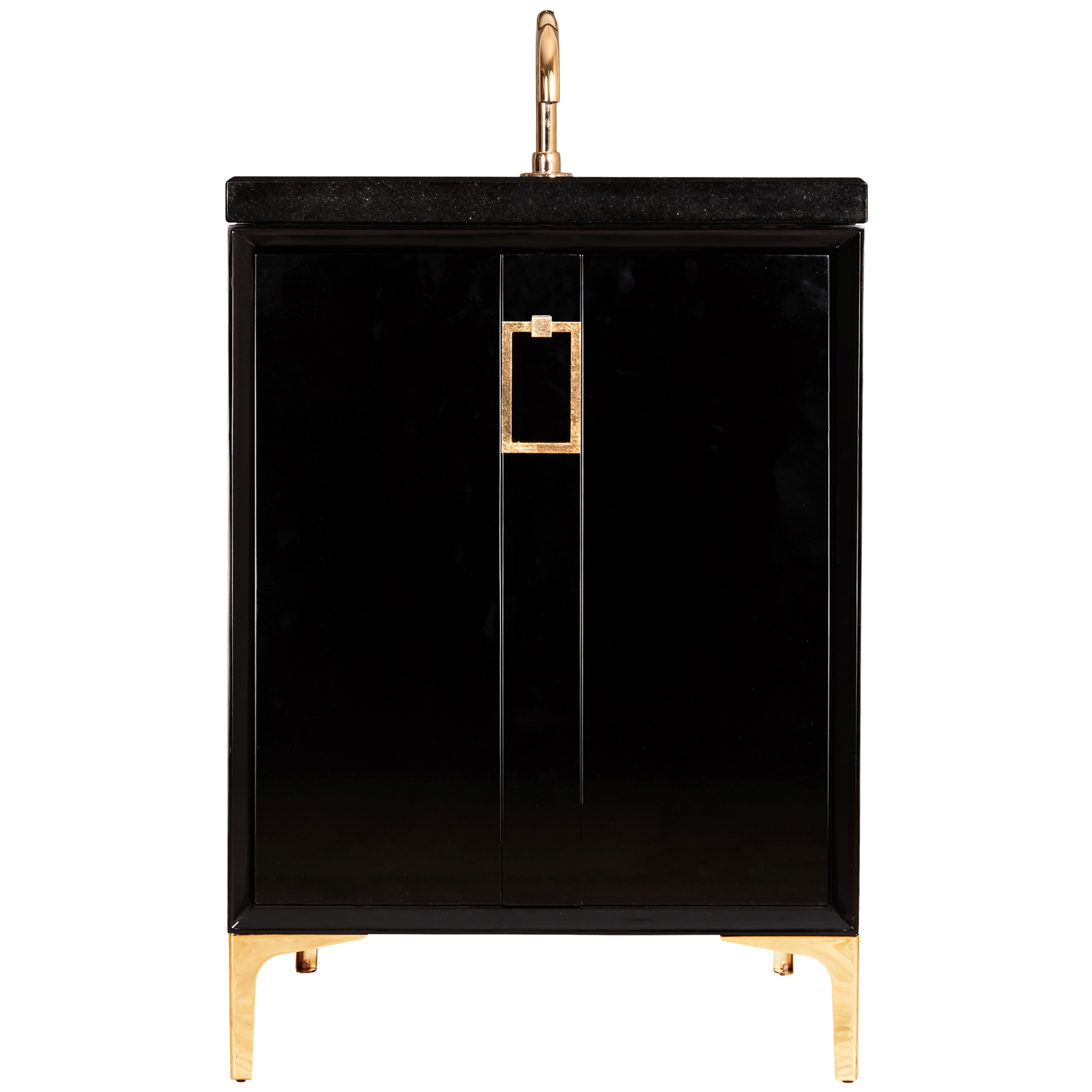 """VAN24B-008 24"""" Black Tuxedo With Coach - Shown with PB (Polished Brass)"""